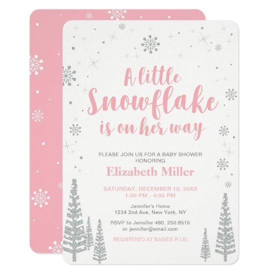 Pink Winter Wonderland, Girl Baby Shower, Card
