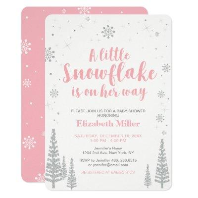 Pink Winter Wonderland, Girl Baby Shower, Invitations