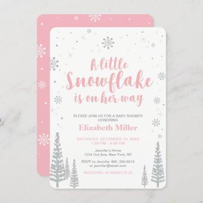 Pink Winter Wonderland, Girl Baby Shower, Invitation