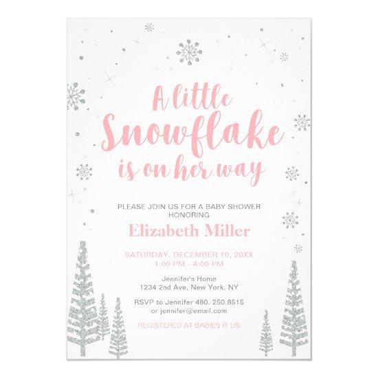 Pink Winter Wonderland, Girl Baby Shower/Sprinkle Card