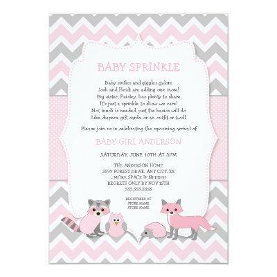 Pink woodland animal baby sprinkle,