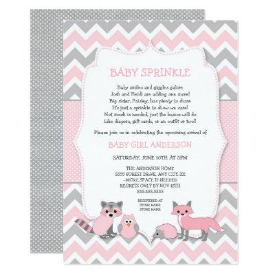 Pink woodland animal baby sprinkle, baby shower Invitations
