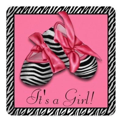 Pink Zebra Baby Shower Invitation