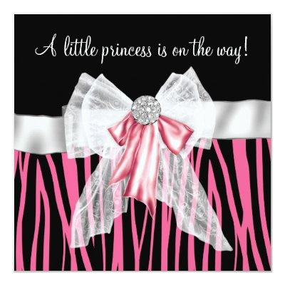 Pink Zebra Pink Black Princess Baby Shower Invitation