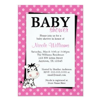 Pink Zebra Polka Dot Baby Shower Invitations
