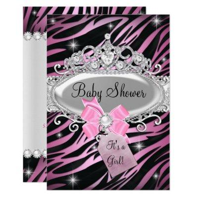 Pink Zebra Print & Princess Tiara Baby Shower Invitations