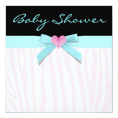 Pink Zebra Teal Heart Baby Girl Shower Invitation