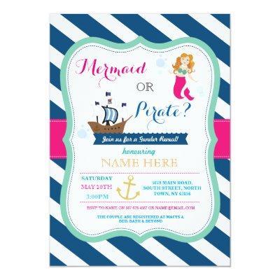 Pirate or Mermaid Baby Shower Reveal Invite