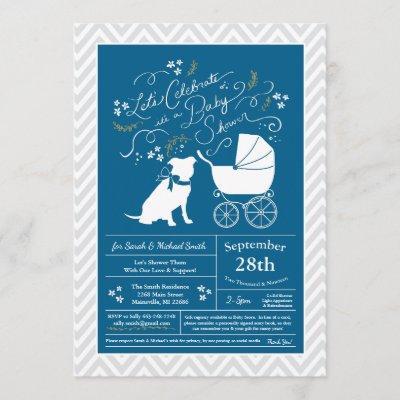Pit Bull Dog Baby Shower Blue Boy Pitbull Invitation