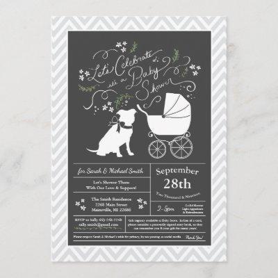 Pit Bull Dog Baby Shower Gender Neutral Pitbull Invitation