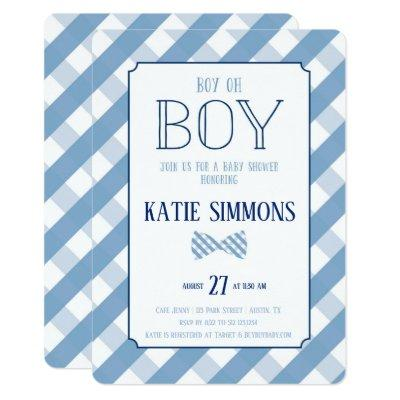 Plaid Bow Tie Southern Baby Boy Shower Invitations
