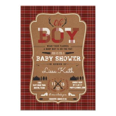 Plaid Lumberjack Baby Boy Shower Invitations