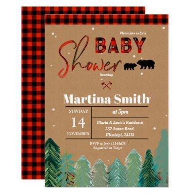 Plaid Woodland Forest Lumberjack Baby Shower Invitation