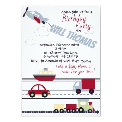Planes, Trains, and Cars Baby Shower Invitations