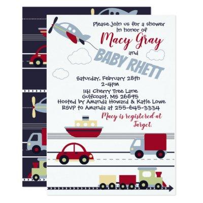 Train baby shower invitation baby shower invitations baby shower planes trains and cars filmwisefo