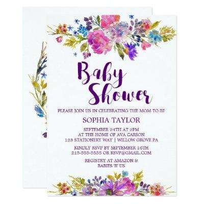 Plum Purple Pink & Blue Flowers Baby Shower Invitation