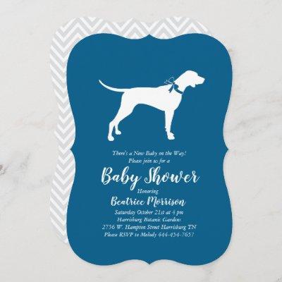 Pointer Dog Baby Shower Boy Blue Invitation