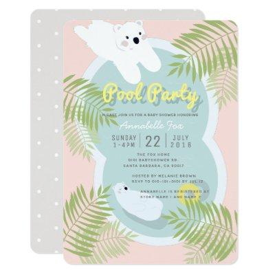Polar Bear Pool Party Pink Baby Shower Invitation