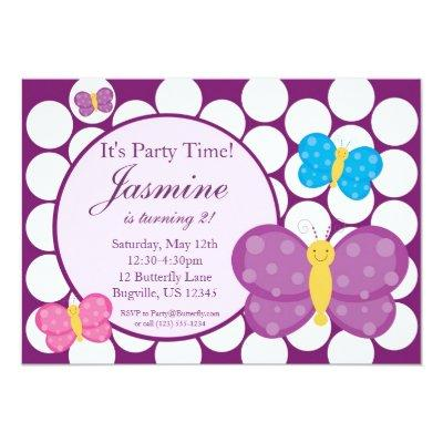 Polka dot Butterfly Birthday Party Invitations