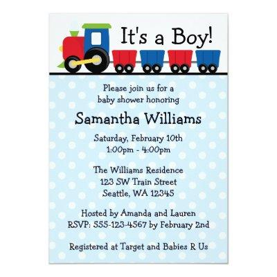 Polka Dot Train Boy Baby Shower Invitation
