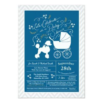 Poodle Dog Baby Shower French Blue for Boy Invitation