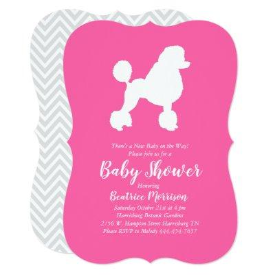 Poodle Dog Baby Shower French Puppy Pink Girl Invitation