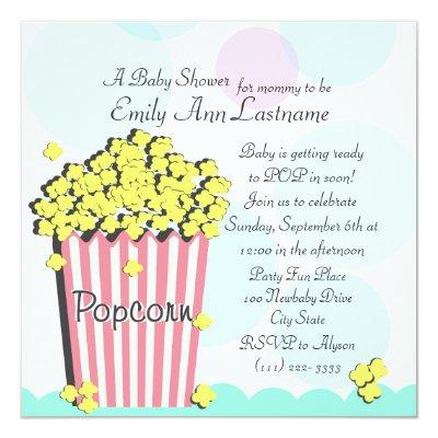 Ready to pop invitations baby shower invitations baby shower popcorn filmwisefo