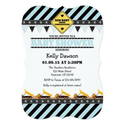 Powder Blue Construction Baby Shower Invitations