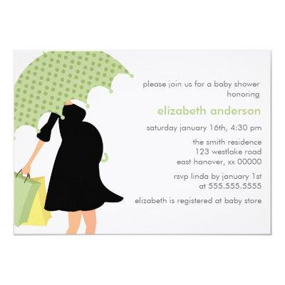 Pregnant Mom {green} Invitations