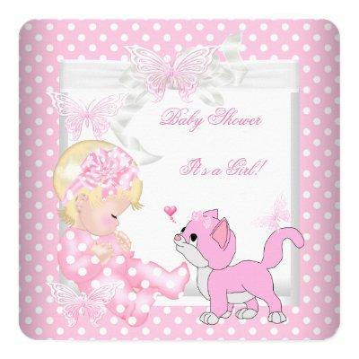 Pretty Blonde Girl Pink Spot Kitten Invitations