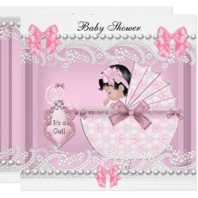 Pretty Baby Shower Cute Girl Pink Vintage Invitation