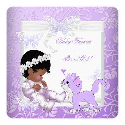 Pretty Girl Lavender Purple Kitten Invitations