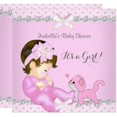 Pretty Baby Shower Girl Pink Polka Dot Kitten 2 Invitations