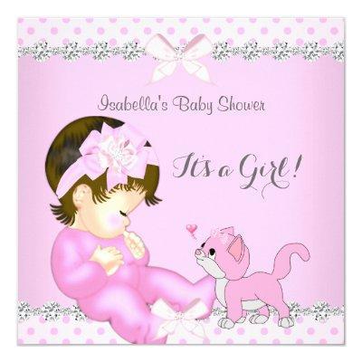 Pretty Girl Pink Polka Dot Kitten 2 Invitations