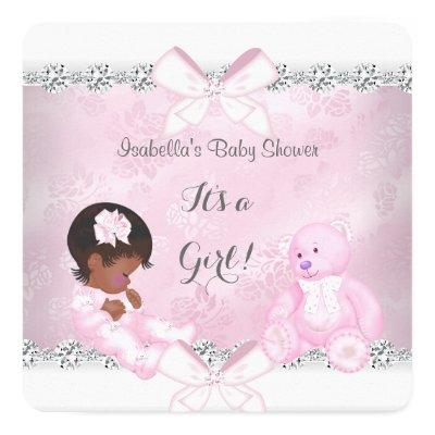 Pretty Baby Shower Girl Pink White Bear Invitation