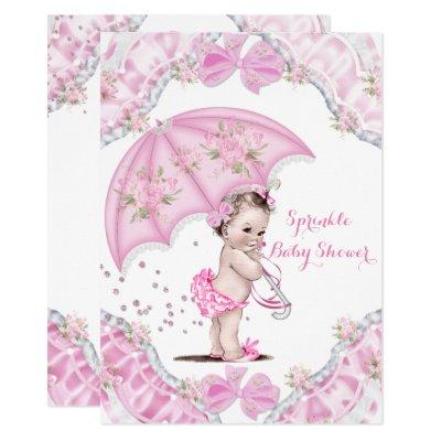 Pretty Baby Shower Pink Umbrella Girl Flowers Invitations