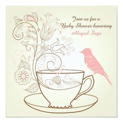 Pretty Bird Tea Party Girls Baby Shower Invitation
