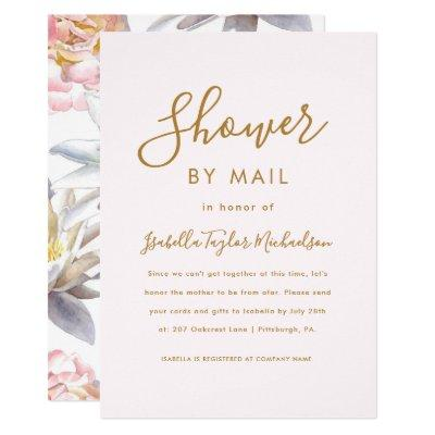 Pretty Blush and Floral Shower by Mail Invitation