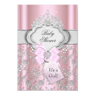 Pretty Bow Tiara Princess Baby Shower Invitations