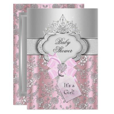 Pretty Bow & Tiara Princess Baby Shower Invitation