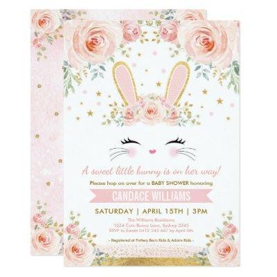 Pretty Bunny Girl Baby Shower / Blush Gold Rabbit Invitation