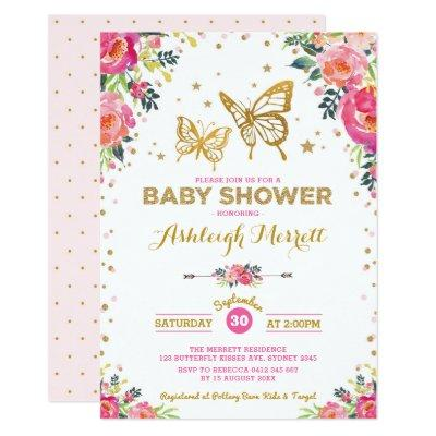 Pretty Butterfly Watercolor Floral Baby Shower Invitations
