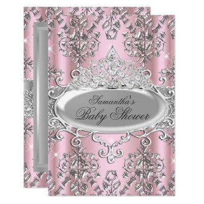 Pretty Damask Tiara Princess Baby Shower Invite