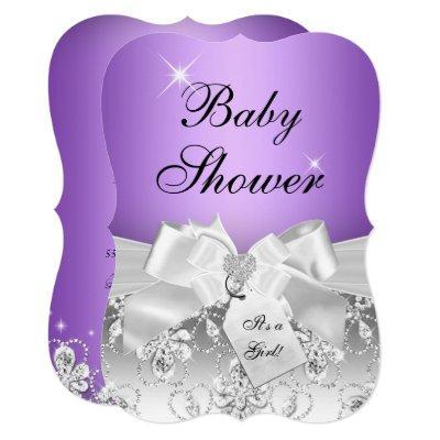 Pretty Diamond Bow Purple Baby Shower Invite