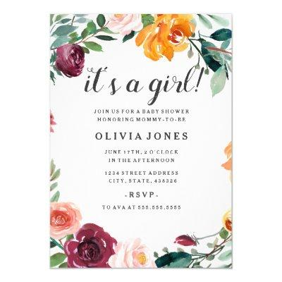 Pretty Floral Girl Baby Shower Invitations
