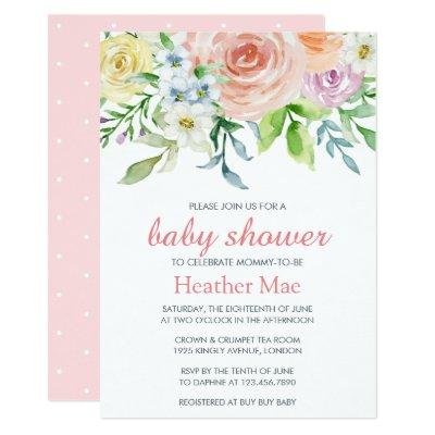 Pretty Flowers Baby Shower Invitation