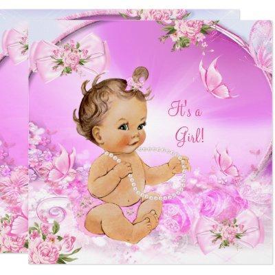 Pretty Girl Baby Shower Pink Butterfly Brunette LT Invitations