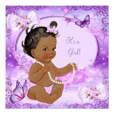 Pretty Girl Baby Shower Purple Butterfly Ethnic Invitations