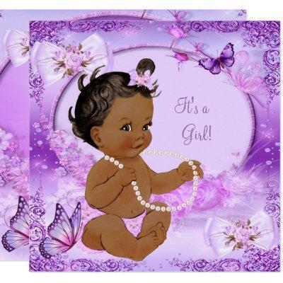 Pretty Girl Baby Shower Purple Butterfly Ethnic Invitations
