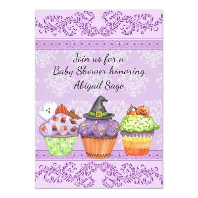 Pretty Halloween Cupcakes Girls Baby Shower Invite